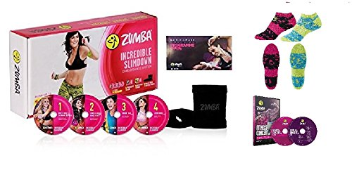 Zumba Incredible Slimdown Set mit 4 DVDs , deutscher Sprache+DVD Live Zumba 2er Set (DVD+CD) + Socken 2er Set + Stülper + Ernährungsplan