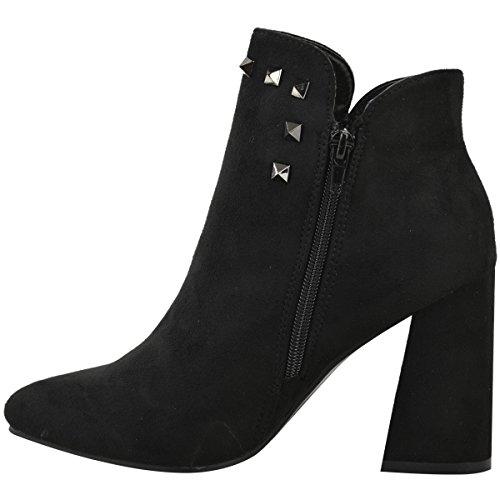 Donna CUBANI BLOCCO MEDIO tacco alto stivali caviglia BORCHIATO CHUNKY SCARPE NUMERI nero camoscio sintetico/CANNA DI FUCILE BORCHIA