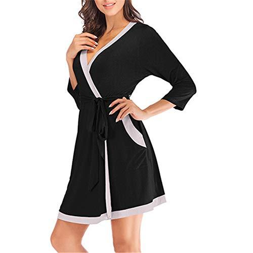Damen Morgenmantel Kimono mit Taschen Bademantel Satin Kurz Robe Nachthemd Nachtwäsche Mit Blumenspitze,Modal sexy Naht Bademantel Bademantel schwarz S