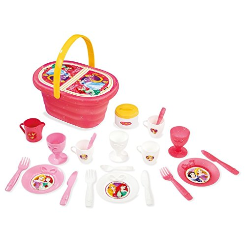 Smoby toys- 310554- Disney Princess, Picknickkorb, Essecke mit Korb, + 21Zubehör