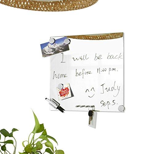 Promotion -70% ! SoBuy FRG46 Memoboard Tableau mémo miroir 40 x 40cm avec porte clés, aimants, feutre et fixations murales