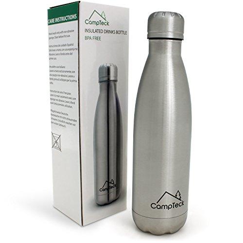 CampTeck 500ml Insolierte Edelstahl Wasserflasche Thermosflasche Doppelwandig Getränke Trinkflasche - Pink Silber
