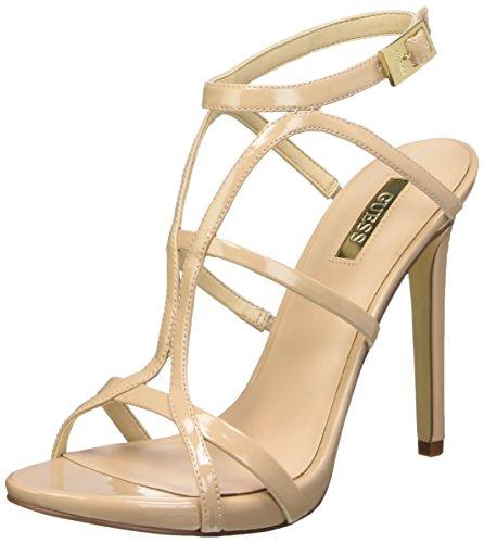 Guess Adalee2 Patent Pu Sandali con cinturino alla caviglia, Donna, Beige (Nude), 37