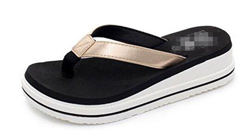 Boowhol Damen Zehentrenner Komfort Badeschuhe Sandalen mit absatz