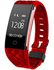 Fitness Armbänder Yarrashop® Bluetooth Fitness tracker Smart Bracelet IP67 Wasserdichte Smart Armband Herzfrequenz-Monitor Sport Wristband Fitness Tracker Multi-Sport-Modus Gesundheit Monitor Pedometer Anruf Nachricht Erinnerung für IOS Android Phone