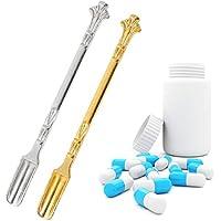 Baluue 4 Piezas de Metal Micro Cucharas de Laboratorio Cuchara de Muestreo de Reactivo Cuchara de Medicina de Laboratorio Oro Plata