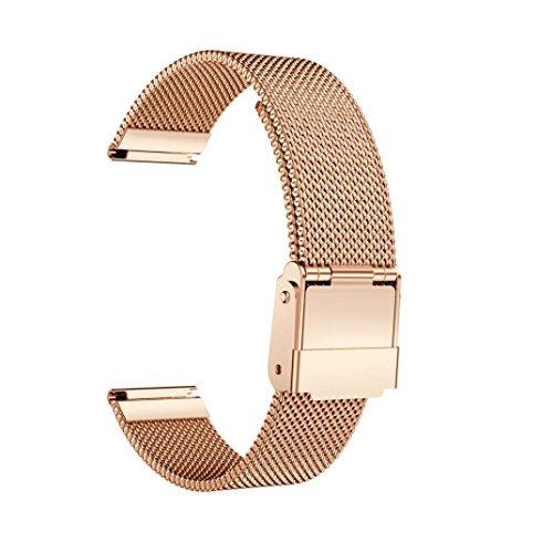 kingko® Magnetische Schleife Edelstahl Smart Watch Band für Daniel Wellington Classic Petite 32MM (Rosen-Gold) (Wire Mesh Band)