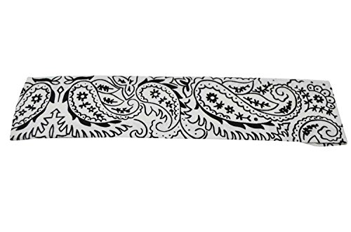 KARL LOVEN Bandeau serre-tête headband Bandanas Fichu Motif Cashemire 100% Coton (Blanc)