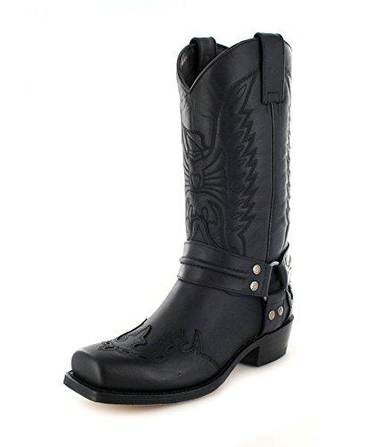 Sendra Boots 4980 Negro Sprinter Negro Lederstiefel für Damen und Herren Schwarz Bikerstiefel, Groesse:47