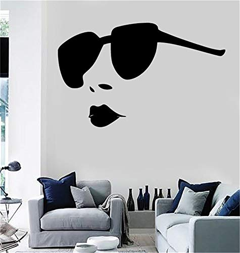 wandaufkleber baum foto Sexy hot girl volle lippen großen sonnenbrillen salon