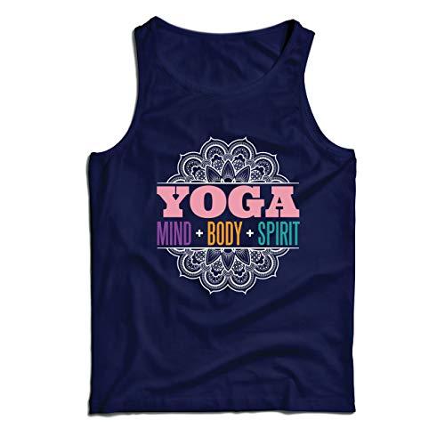lepni.me Weste Spirituelle Meditation Yoga - Geist, Körper, Geist, Geschenk für Yogini (Large Blau Mehrfarben)