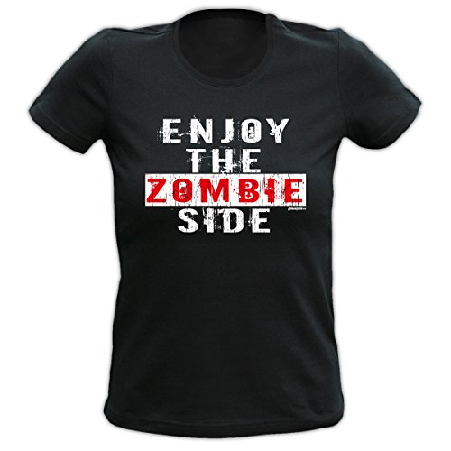 Halloween Girlie T-Shirt Enjoy the Zombie Side Halloweenparty Trick or Treat Halloween Shirt Party Gruselparty Gr: Farbe: schwarz Schwarz
