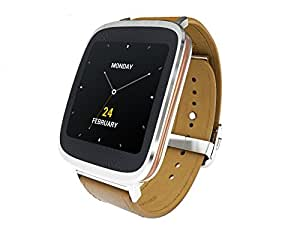 Asus Zenwatch WI500Q-1A0002 (4,14cm Touchscreen, Qualcomm Snapdragon 400 APQ8026, 4GB, Lederarmband braun) silber