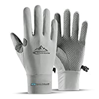 Summer Cooling Cycling Gloves, Touch Screen Gloves, Full Finger Gloves for Man Women Hiking Riding Climbing Workout Exercise Gloves Thin (Gray, L)