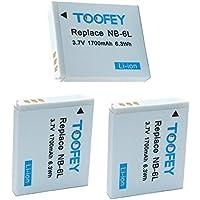 TOOFEY® 3x NB-6L Battery for Canon PowerShot D10, D20, ELPH 500 HS, S90, S95, S120, SD770, SD980, SD1200, SD1300, SD3500, SD4000, SX170, SX240, SX260, SX270, SX280, SX500, SX510, SX600, SX701 HS