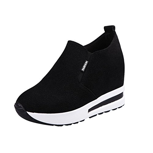 Sneakers Damen Btruely Mädchen Keilstiefel Plateauschuhe Stiefeletten Mode Freizeitschuhe Schuhe Sportschuhe Damen Versteckt Hacke Schuhe (38, Schwarz) (Über Die Knie-reißverschluss-boot)