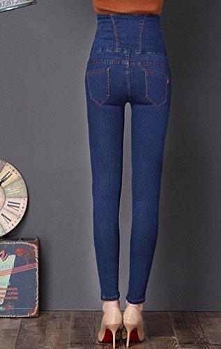 Sentao Donna Skinny Jeans Pantaloni A Vita Alta Vintage Denim Jeans Pantaloni Matita Pantaloni Lunghi Slim Leggings Blu scuro
