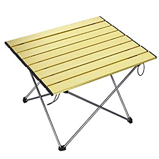 Zfggd Ultra Light Folding Camping Table Aluminum Beach Table, 40 * 34 * 32CM, Suitable For Indoor And Outdoor Picnic, Beach, Hiking, Tourism, Fishing (color : Yellow)