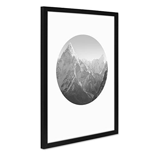 PHOTOLINI Poster mit Bilderrahmen Schwarz 'Mount Everest' 30x40 cm Berge schwarz-Weiss Foto Landschaft