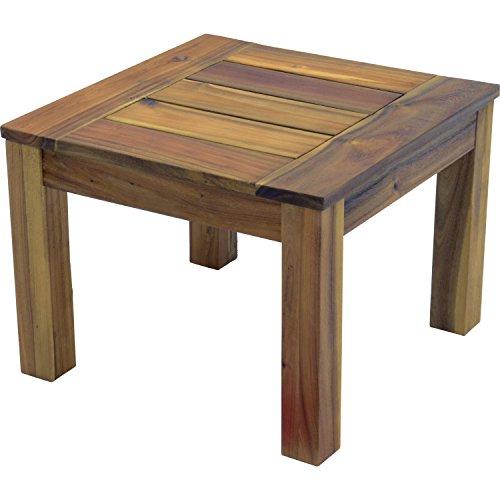 Lesli Living Dynamic24 Acaia Table d'appoint en Bois de Teck 60 x 60 x 35 cm
