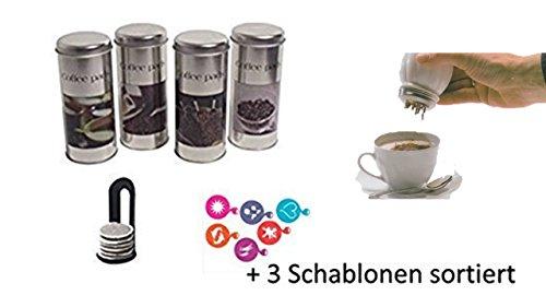 Kaffeepaddosen für Senseo Kaffeepads, 4er Pack, Coffee Time I mit Padheber + und Schokostreuer aus Glas + 3 Schablonen von James Premium®