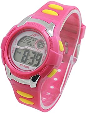 Kinder Kids Uhren Digital Colorful Luminous LCD Alarm Datum Sport Handgelenk Armbanduhr für junge Mädchen ws @...