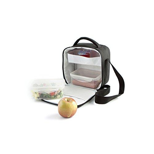 Quid Go Lunch - Bolsa portamenú para transporte de alimentos, con 2 contenedores, color negro