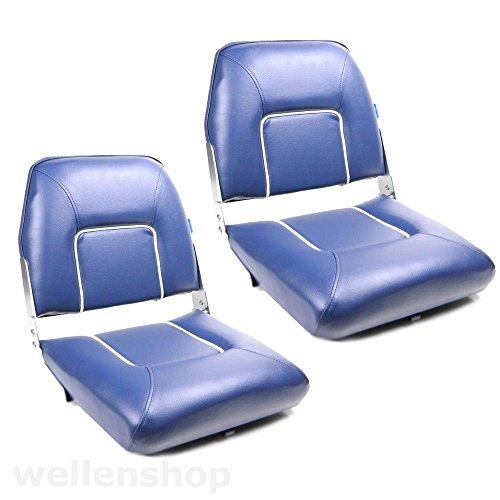 2 x Bootssitz Pilotenstuhl Klappsitz Kunstleder Blau