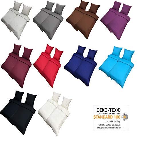 Leonado Vicenti Bettwäsche 135×200 4teilig Renforce 100% Baumwolle Uni mit Reißverschluss