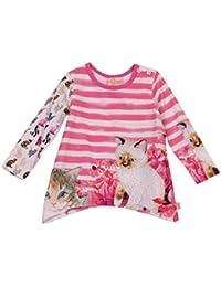 PEZZO D´ORO Mädchen T-Shirt langarm Weiß Pink gestreift