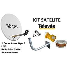 KIT ANTENA PARABOLICA 80cm+LNB+ ROLLO DE CABLE 20M+SOPORTE A PARED TELEVES 7393
