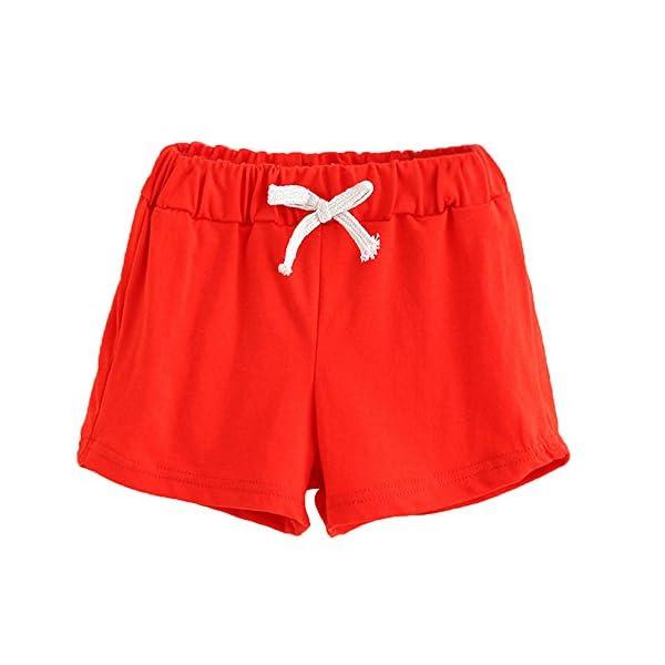 Covermason Bebé Unisex Niños Niña Moda Algodón Ocio Pantalones Cortos (2Años, Rojo) 1
