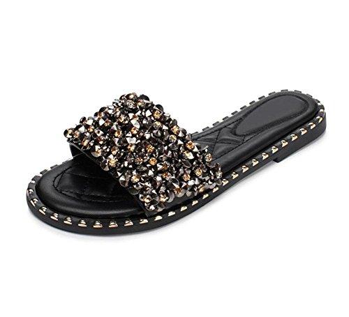rivets diamants de la mode des femmes sandales plates et pantoufles mot chaussures drag chaussures de marée Black