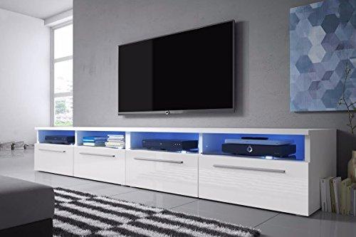 Siena Double - Meuble TV/Banc TV (200 cm, Blanc Mat/Blanc Brillant avec LED)