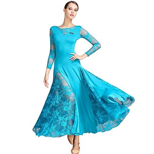 Illusion Dance Kostüm - KLEDDP Waltz Dance Kostüm Tango Ballroom Dress Lace Ärmel Kleid Kleid (Color : Black, Size : XL)
