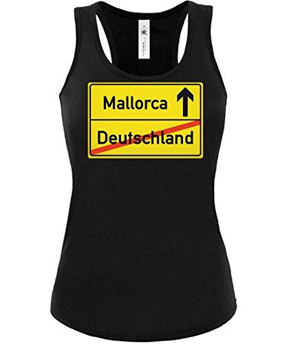 Golebros Mallorca Ortsschild 5358 Urlaub Saufen Bier Damen Fun Tank Top Funshirt Schwarz M