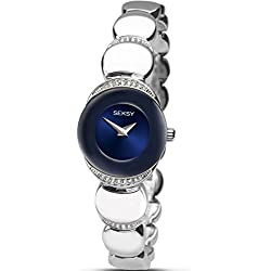 Seksy Sapphire Ladies Dress Bracelet Watch Blue Dial Crystal Set Case 2295