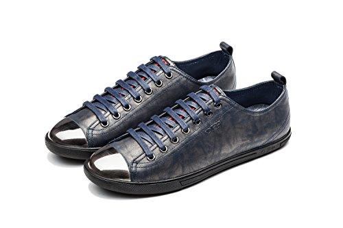 OPP Classique Sneakers Chaussures de Ville en Cuir à Lacets Homme Bleu