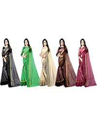 Florence Cotton with Blouse Piece Saree (Pack of 5) (FL-RSTCOM-5_10_Multicolor_One Size)
