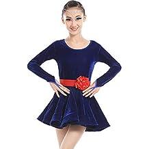 Bambine e ragazze Abiti SMACO Costumi per La Danza Latina per Bambini Femminili Costumi per La Concorrenza Comodi E Traspiranti Costumi per La Danza del Merletto Blu Bianco Rosso Verde Nero