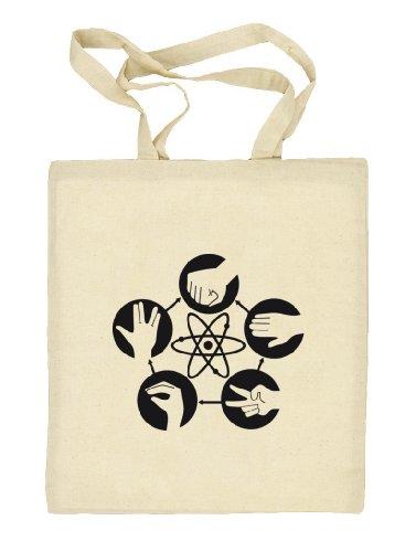 Shirtstreet24, Atom - Stein Schere Papier, Stoffbeutel Jute Tasche (ONE SIZE) Natur