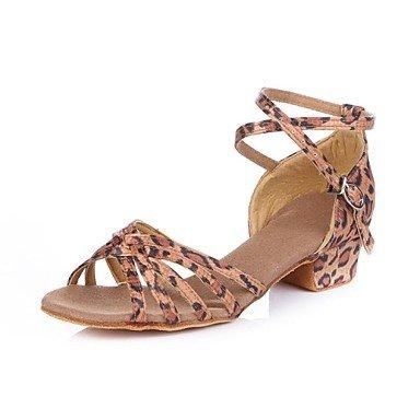Ruhe @ Damen/Kids 'Dance Schuhe latin Satin Cuban Heel Leopard leopard