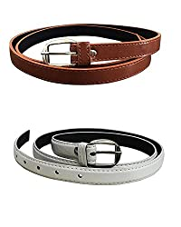 Shara Girl's PU leather belts set of 2 combo (Brown & White)(SHA/WOMENBELTS/BRWH)