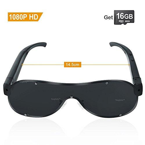TOUGHSTY 16GB 1920x1080P HD Video Gafas de Sol con Lentes Anteojos Camara Ocultas Mini Grabador de Video Voz Espia