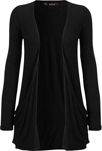 WearAll-Cárdigan de manga larga-Camisetas-Mujeres-Tallas 36a 50 negro 40-42