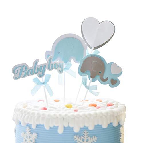 Toyvian Cake Topper Inserto Cupcake Baby Shower Compleanno Festa favori (Blu)