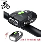 FASTPED Cool Bell with 3 LED Light Bicycle Bike Accessories Adjustable Safety Warning Loud Horn