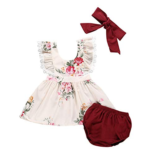 Hongyuangl Kinder gedruckt Sommerkleid + Bloomer Shorts PP Hosen + Stirnband Kleinkind Mädchen 3 Stück Outfits - Sommerkleid Bloomers