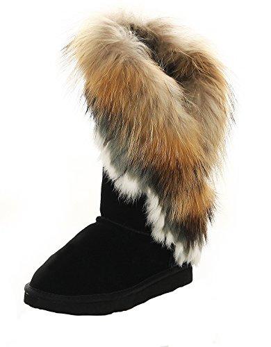 SKUTARI - Damen Yeti Boots - Wildleder, Schwarz, Echtfellbesatz, Gefüttert, (Stiefel Indianer)