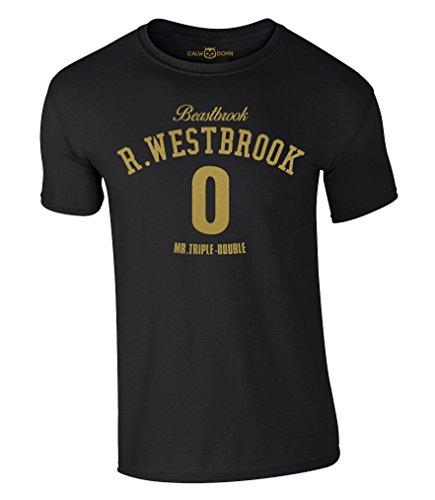 Russell Westbrook T-Shirt Beastbrook 0 Mr.Triple-Double OKC Thunder Trikot Jersey (M, Schwarz/Gold)